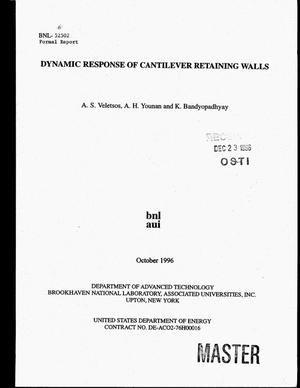 Primary view of object titled 'Dynamic response of cantilever retaining walls'.