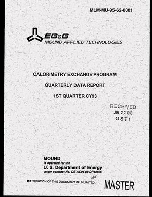 Primary view of object titled 'Calorimetry exchange program quarterly data report, first quarter CY93'.
