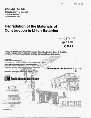 Primary view of object titled 'Degradation of the materials of construction in Li-ion batteries'.