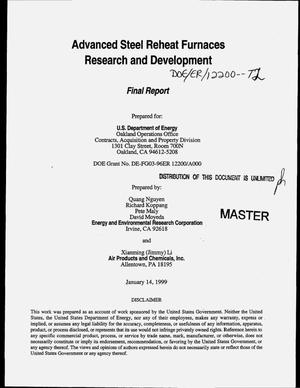 Primary view of object titled 'Advanced steel reheat furnaces: Research and development. Final report'.