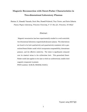Primary view of object titled 'Magnetic Reconnection with Sweet-Parker Characteristics in Two-dimensional Laboratory Plasmas'.