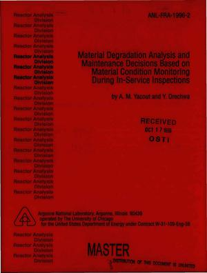Primary view of object titled 'Material degradation analysis and maintenance decisions based on material condition monitoring during in-service inspections'.