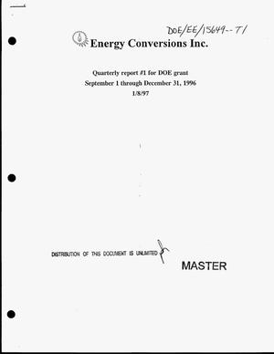 Primary view of object titled 'Develop the dual fuel conversion system for high output, medium speed diesel engines. Quarterly report number 1, September 1--December 31, 1996'.