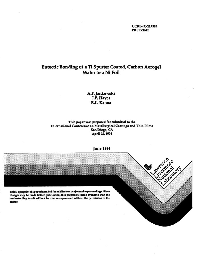 Eutectic bonding of a Ti sputter coated, carbon aerogel wafer to a