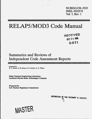 Primary view of object titled 'RELAP5/MOD3 code manual: Summaries and reviews of independent code assessment reports. Volume 7, Revision 1'.