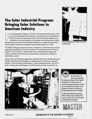 Primary view of object titled 'The Department of Energy`s Solar Industrial Program: 1994 review'.