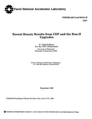 Primary view of object titled 'Recent beauty results from CDF and the Run-II upgrades'.