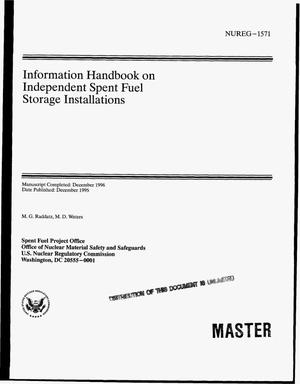 Primary view of object titled 'Information handbook on independent spent fuel storage installations'.