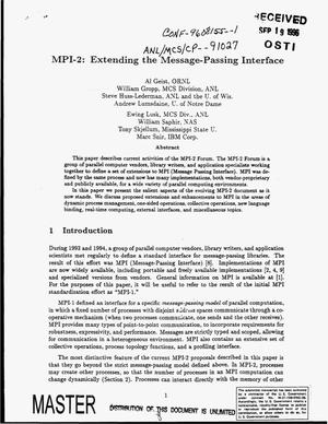 Primary view of object titled 'MPI-2: Extending the Message-Passing Interface'.