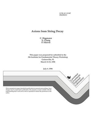 Primary view of object titled 'Axions from string decay'.