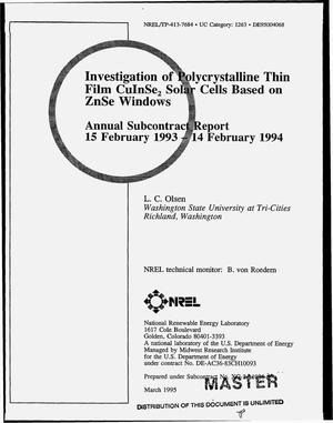 Primary view of object titled 'Investigation of polycrystalline thin film CuInSe{sub 2} solar cells based on ZnSe windows. Annual subcontract report, 15 February, 1993--14 February, 1994'.