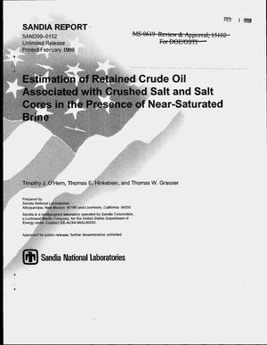 Primary view of object titled 'Estimation of Retained Crude Oil Associated with Crushed Salt and Salt Cores in the Presence of Near-Saturated Brine'.