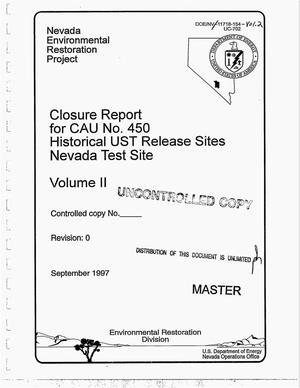 Primary view of object titled 'Closure report for CAU No. 450: Historical UST release sites, Nevada Test Site. Volume 2'.