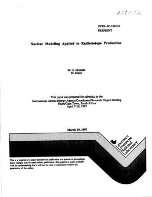 Primary view of object titled 'Nuclear modeling applied to radioisotope production'.