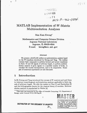 Primary view of object titled 'MATLAB implementation of W-matrix multiresolution analyses'.