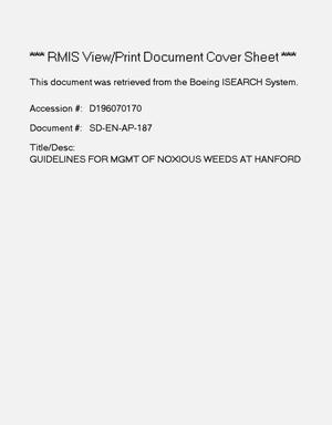 Primary view of object titled 'Guidelines for management of noxious weeds at Hanford'.