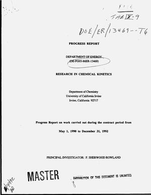 Primary view of object titled 'Research in chemical kinetics. Progress report, May 1, 1990--December 31, 1992'.