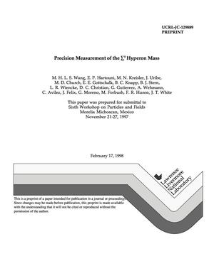 Primary view of object titled 'Precision measurement of the {Sigma}{sup 0} hyperon mass'.