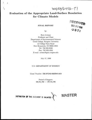 Primary view of object titled 'Evaluation of the appropriate land-surface resolution for climate models. Final report, August 1, 1992--July 31, 1995'.