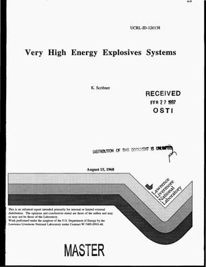 Primary view of object titled 'Very high energy explosives systems'.
