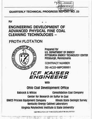 Primary view of object titled 'Engineering development of advanced physical fine coal cleaning technologies - froth flotation. Quarterly technical progress report No. 23, April 1, 1994--June 30, 1994'.