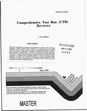 Primary view of object titled 'Comprehensive test ban (CTB) reviews'.