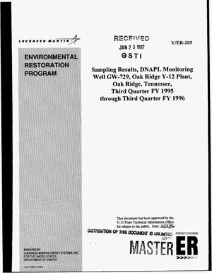 Primary view of object titled 'Sampling results, DNAPL monitoring well GW-729, Oak Ridge Y-12 Plant, Oak Ridge, Tennessee. Annual report'.