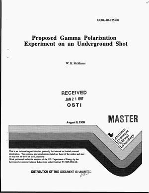 Primary view of object titled 'Proposed gamma polarization experiment on an underground shot'.