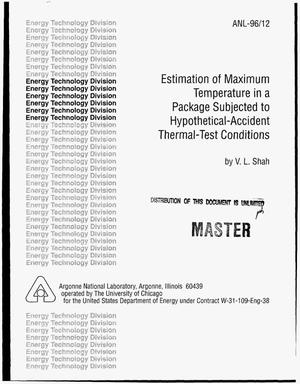 Primary view of object titled 'Estimation of maximum temperature in a package subjected to hypothetical-accident thermal-test conditions'.