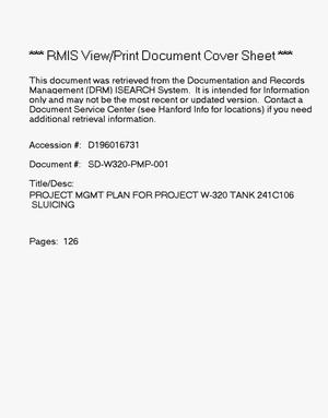 Primary view of object titled 'Project management plan for project W-320, tank 241-C-106 sluicing'.