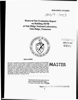 Primary view of object titled 'Removal site evaluation report on Building 3019B at Oak Ridge National Laboratory, Oak Ridge, Tennessee'.