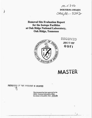 Primary view of object titled 'Removal site evaluation report for the Isotope Facilities at Oak Ridge National Laboratory, Oak Ridge, Tennessee'.