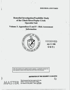 Primary view of object titled 'Remedial investigation/feasibility study of the Clinch River/Poplar Creek operable unit. Volume 3: Appendixes E and F -- Risk assessment information'.
