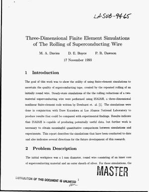 Primary view of object titled 'Three-dimensional finite element simulations of the rolling of superconducting wire'.