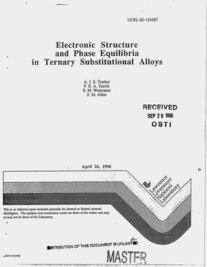 Primary view of object titled 'Electronic structure and phase equilibria in ternary substitutional alloys'.