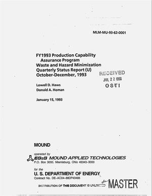 Primary view of object titled 'FY 1993 Projection Capability Assurance Program waste and hazard minimization. Quarterly report, October--December 1993'.