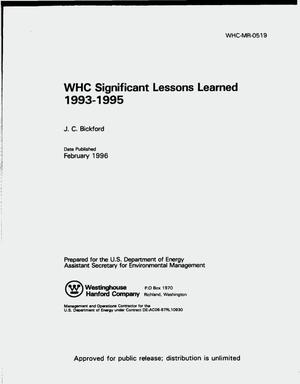 Primary view of object titled 'WHC significant lessons learned 1993--1995'.