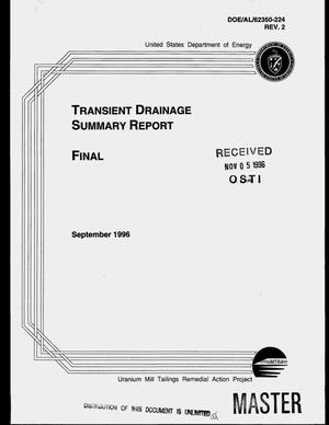 Primary view of object titled 'Transient drainage summary report'.