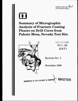 Primary view of object titled 'Summary of micrographic analysis of fracture coating phases on drill cores from Pahute Mesa, Nevada Test Site. Revision 1'.