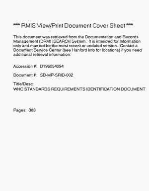 Primary view of object titled 'Westinghouse Hanford Company (WHC) standards/requirements identification document (S/RID)'.