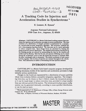 Primary view of object titled 'A tracking code for injection and acceleration studies in synchrotrons'.