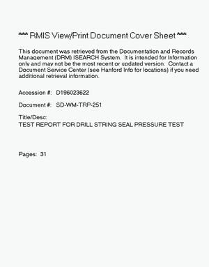 Primary view of object titled 'Test report for drill string seal pressure test'.