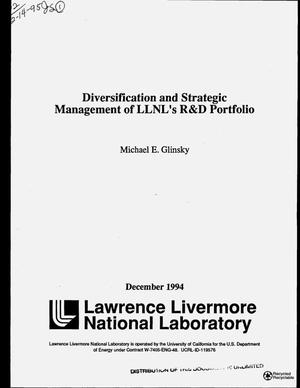 Primary view of object titled 'Diversification and strategic management of LLNL`s R&D portfolio'.