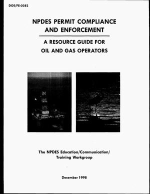 Primary view of object titled 'NPDES permit compliance and enforcement: A resource guide for oil and gas operators'.