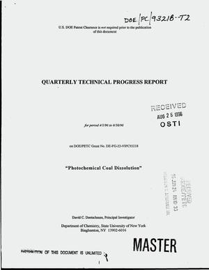 Primary view of object titled 'Photochemicl coal dissolution. Quarterly report, April 1, 1996--June 30, 1996'.