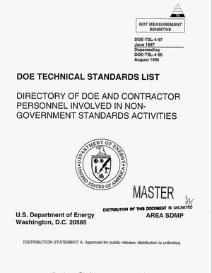 Primary view of object titled 'DOE Technical Standards List. Directory of DOE and contractor personnel involved in non-government standards activities'.