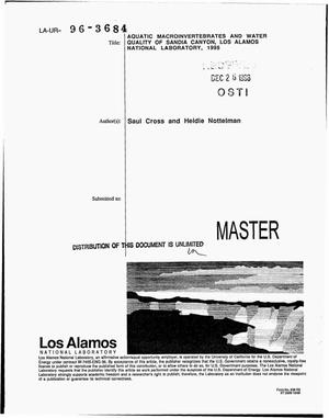 Primary view of object titled 'Aquatic macroinvertebrates and water quality of Sandia Canyon, Los Alamos National Laboratory, 1995'.