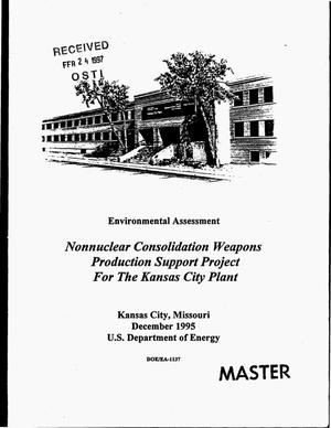 Primary view of object titled 'Nonnuclear consolidation weapons production support project for the Kansas City Plant'.