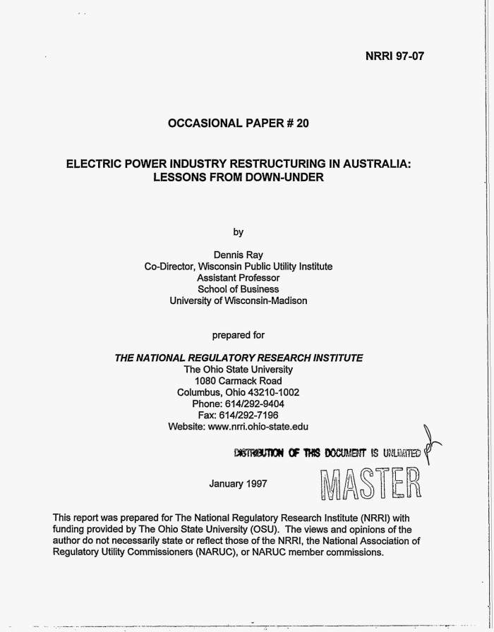 Electric power industry restructuring in Australia: Lessons