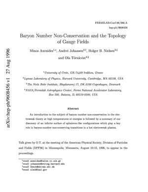 Primary view of object titled 'Baryon number non-conservation and the topology of gauge fields'.